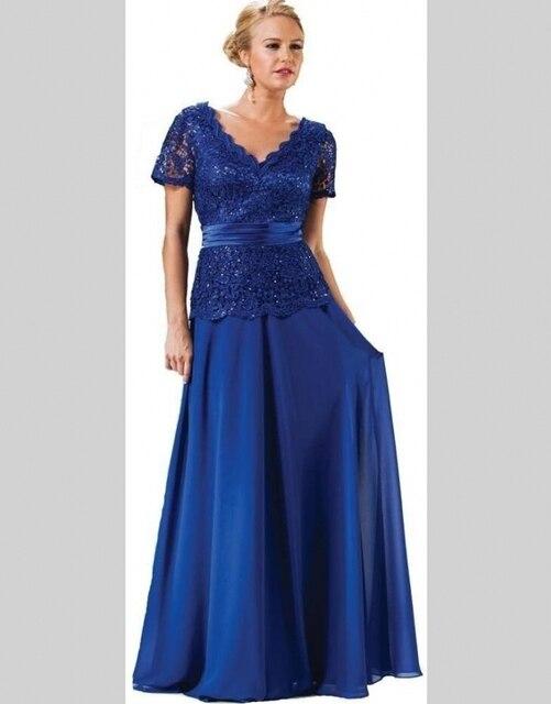 Royal Blue Largo Elegante Madre De La Novia Vestidos de Encaje de Gasa de Bodas el Novio Madre Nupcial Vestidos De Madrina