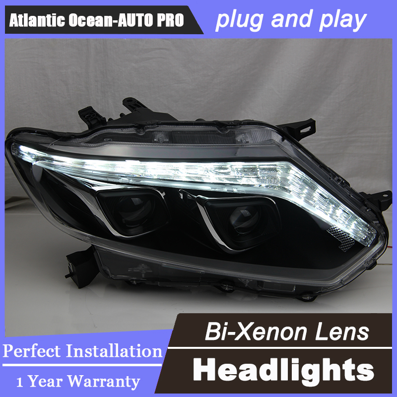 Auto.Pro Car Styling for Nissan X-trail LED Headlight 2014 Rouge LED Lens Double Beam HID KIT Xenon bi xenon lens hireno headlamp for 2011 13 nissan sunny almera versa headlight headlight assembly led drl angel lens double beam hid xenon 2pcs