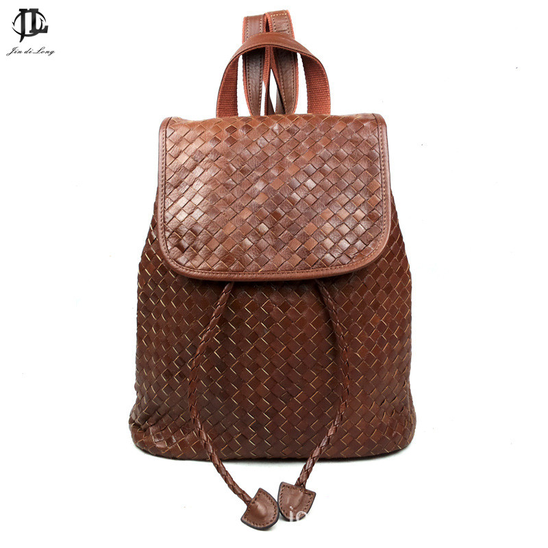 Vintage Oil Painting Knitting Genuine Leather Women Backpacks Ladies fashion bag Travel Shoulder Bags Rucksack faux leather fashion women backpacks vintage casual daypacks shoulder bags travel bag free shipping