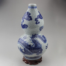 Exquisite Chinese Antique Handmade Blue and White Porcelain Gourd-shape Dragon Auspicious Ornament Vase exquisite chinese antique imitation famille rose auspicious porcelain plate painted with peony and birds