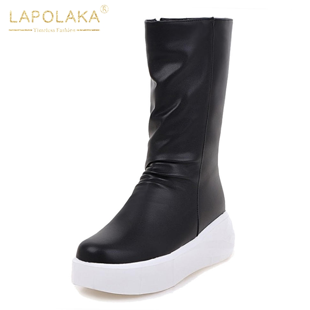 2f4bcc66923 Mujer blanco Zapatos De Pantorrilla Botas 34 Negro Impermeables Para Grande  43 Media Invierno Lapolaka Nueva ...