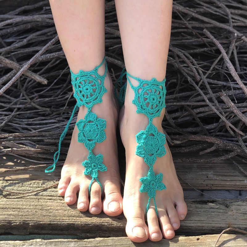 Szydełkowe ślubne sandały boso, nagie buty, biżuteria na stopy, wiktoriańska koronka Bridal anklet, akcesoria plażowe na plażowe stroje kąpielowe