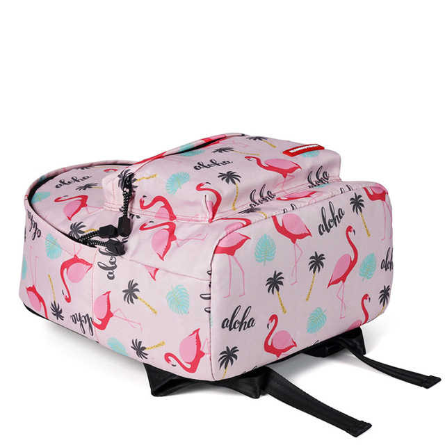 Mochila de moda para mujer Mochila escolar con estampado Animal flamenco rosa para niñas adolescentes Mochila impermeable