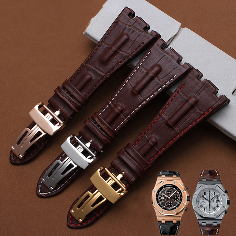 Quality genuine leather watchband 28mm brown bracelet replacement leather watch strap for men for AP women crocodile leather watch strap for vacheron constantin melisa longines men genuine leather bracelet watchband montre