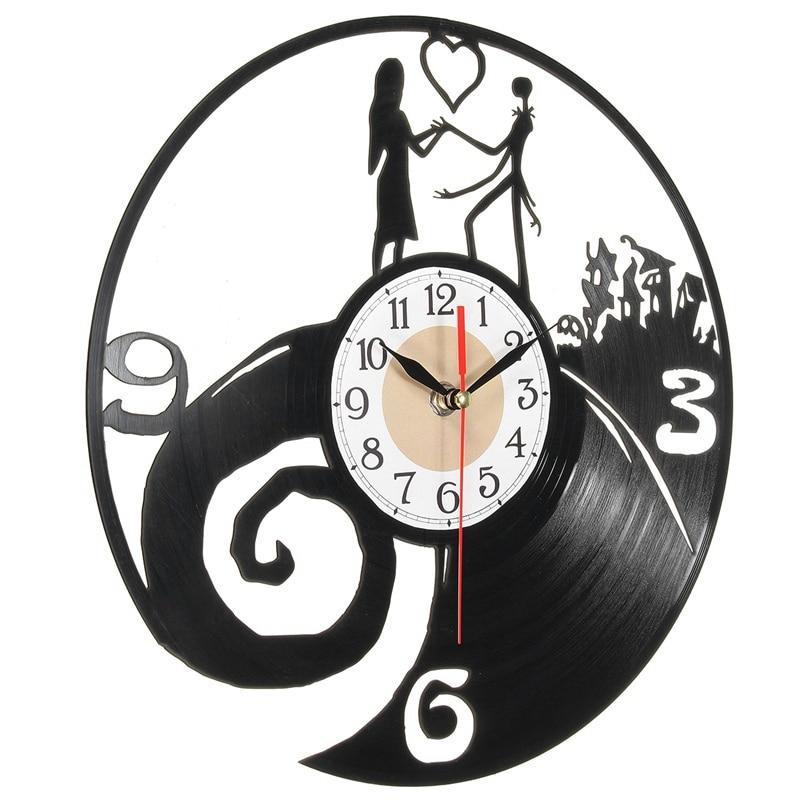 kiwarm moderna pesadilla parejas vinyl record reloj colgante figuras miniaturas adornos para el hogar sala de