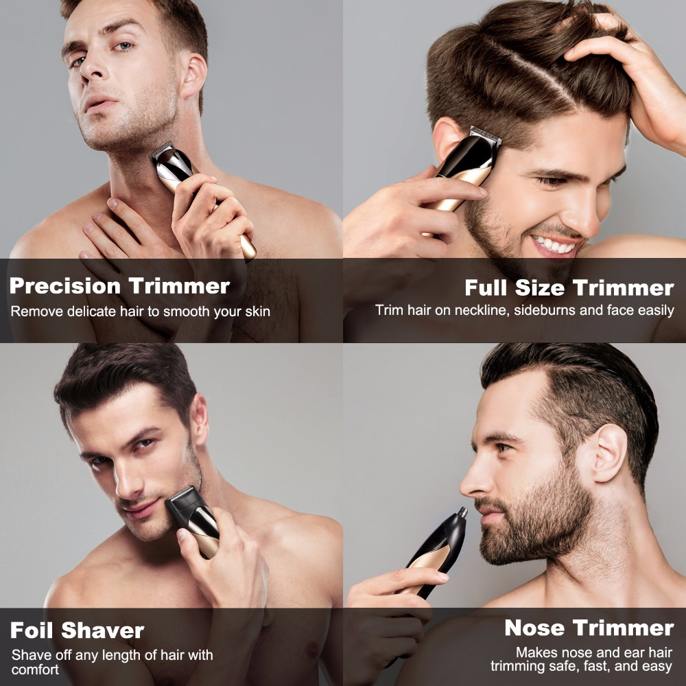 Multi-functional Beard and Nose Hair Trimmer 8 in 1 Rechargeable Grooming kit Facial Hair Clipper Trimmer for Men and Women rechargeable washable hair and beard trimmer clipper with accessories set 220 230v ac