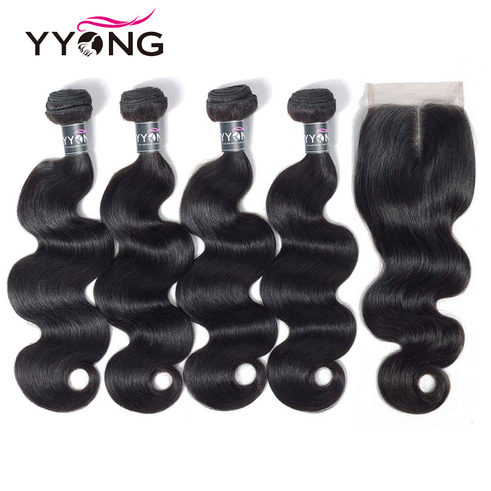 Yyong 3/4 Body Wave Bundles With Closure Brazilian Hair Weave Bundles With Lace Closure Remy Human Hair Bundles With Closure
