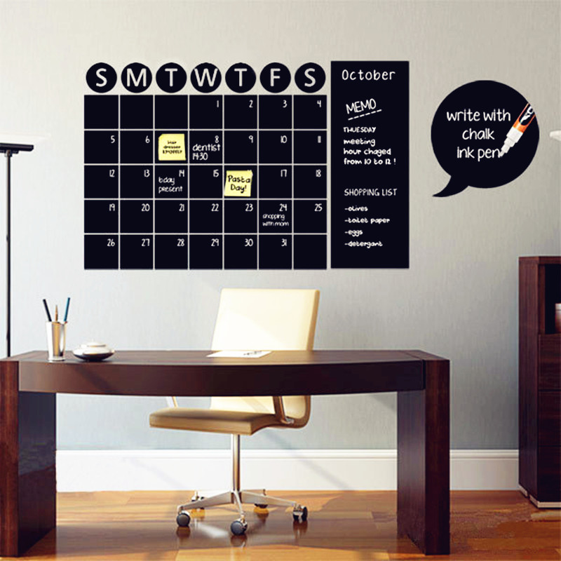 Chalkboard Calendar Decals Chalk Board Wall Sticker Home Decoration Vinyl  Wall Decal Living Room Or Other Place Wall Art Decor In Wall Stickers From  Home ...