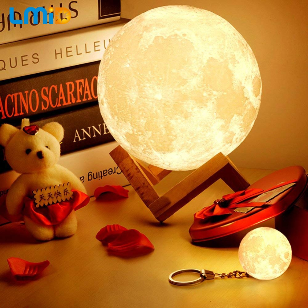 LMID LED Night Lamp 3d Printing Moon Lamp Home Decor Creative Battery Powered Ni
