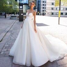 Loverxu/сексуальные свадебные платья с открытой спиной, с глубоким вырезом, трапециевидной формы, Роскошные свадебные платья в стиле винтаж с аппликацией из бисера