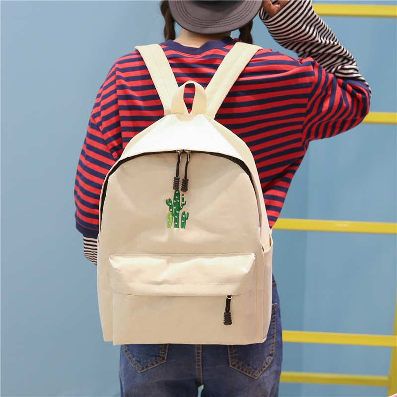 New Cactus Embroidery Simple Canvas Backpack Students School Women Girl Rucksack Mochila Escolar Women Backpack (34)