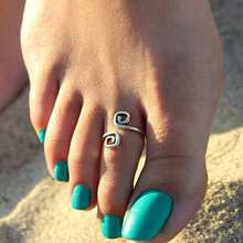 New Coming Hot Summer Rings Unique Retro Silver Plated Nice Toe Ring(China)