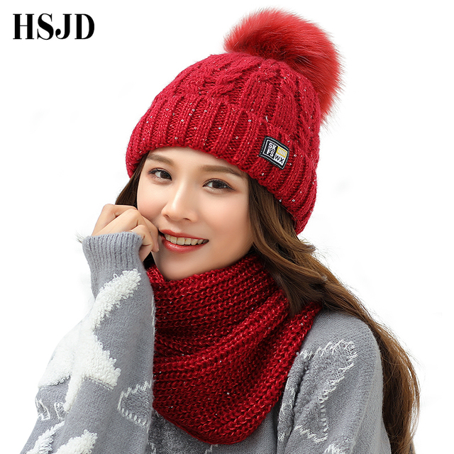 2018 New Sequins Knitted Hats Scarf Set Women s Winter Hat With Pom pom  Thick Female Knitting Skullies Beanies Girl Warm Hat 9d2d94a160f