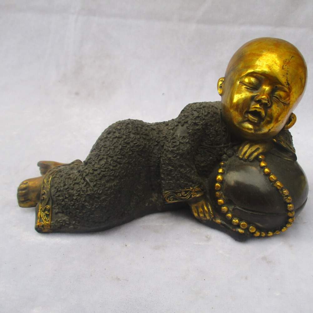 Collectible Chinese Old Copper Carved Gold Gilt Sleeping Buddha Sculpture /Antique Buddha Statue