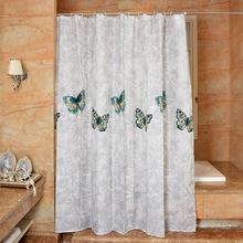 купить New Bathroom Shower Curtain 130g Of Polyester Cloth Butterfly Printing Toilet Partition Curtain Waterproof Mouldproof Thickening по цене 1231.52 рублей