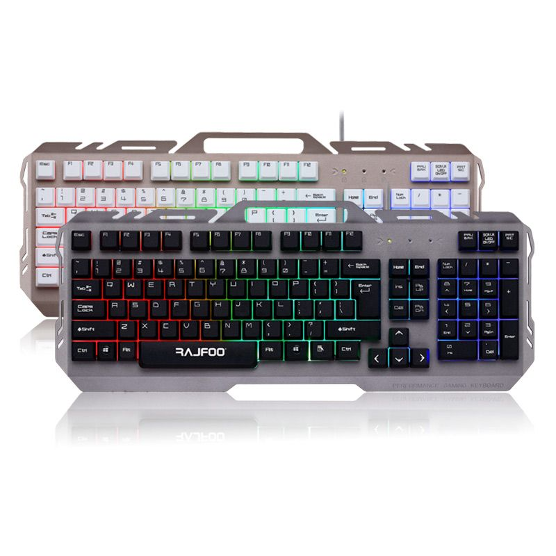 Rajfoo Gaming Keyboard 104 Keys USB Wired Illuminated Colorful LED Backlight Multimedia ABS material Oct10