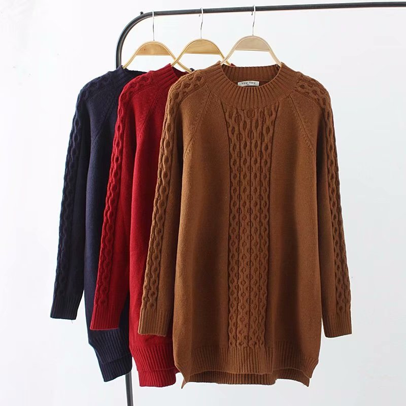 Plus size Hemp flowers women Knitted pullover 2018 Caramel color & dark blue red autumn winter ladies sweater wool female