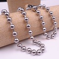 18''-36'' choose stainless steel Silver Large 6mm / 8mm Ball Beaded Chain Necklace for Women Men Jewelry