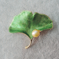 High Quality 100 Nature Fresh Water Pearl Brooch Very Fashion Leaf Brooch