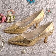 Wedopus MW10211H Sexy Золото Кружева Дамы Офис Обувь Свадебные Насосы Острым Носом Челнока