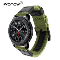 Genuine Nylon Leather Watchband For Samsung Gear S3 Classic Frontier Quick Release Watch Band Canvas Strap