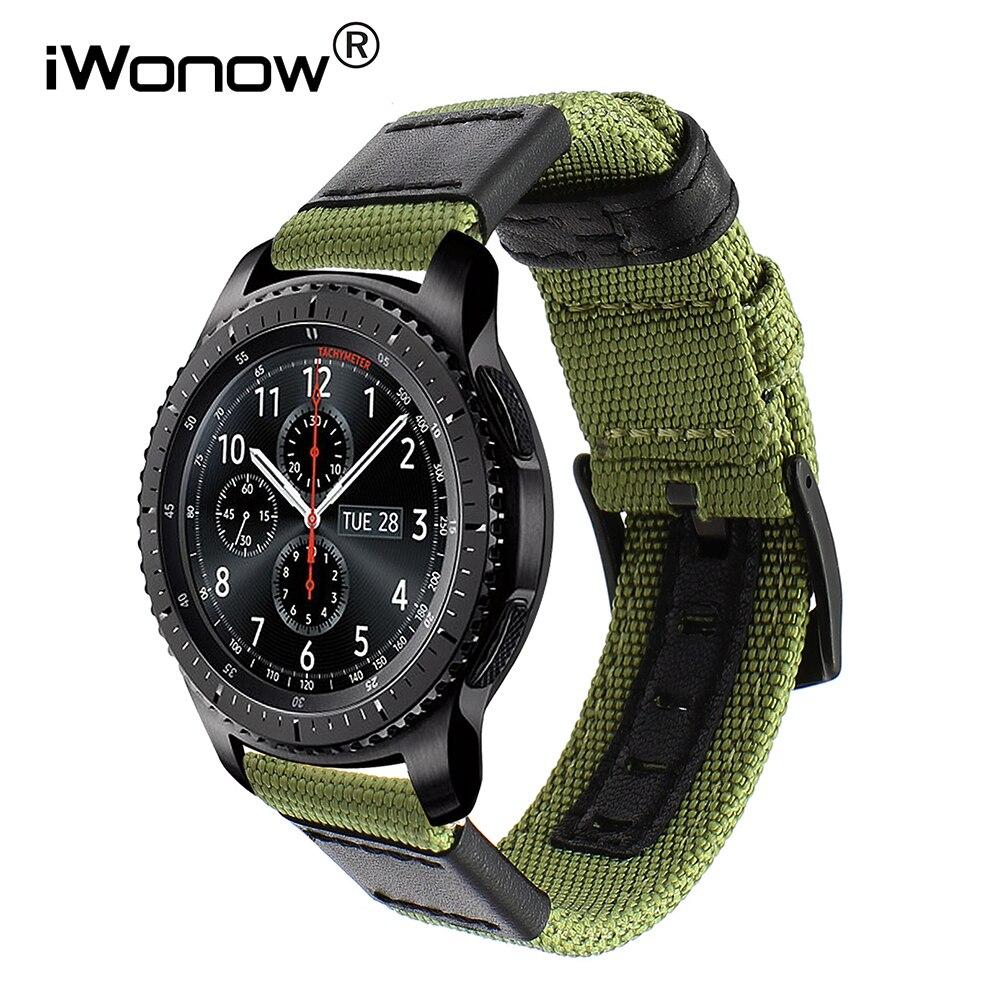 Echte Nylon + Lederband für Samsung Getriebe S3 Klassische Frontier Schnellverschluss Uhrenarmband Leinenband Handgelenk Gürtel Armband