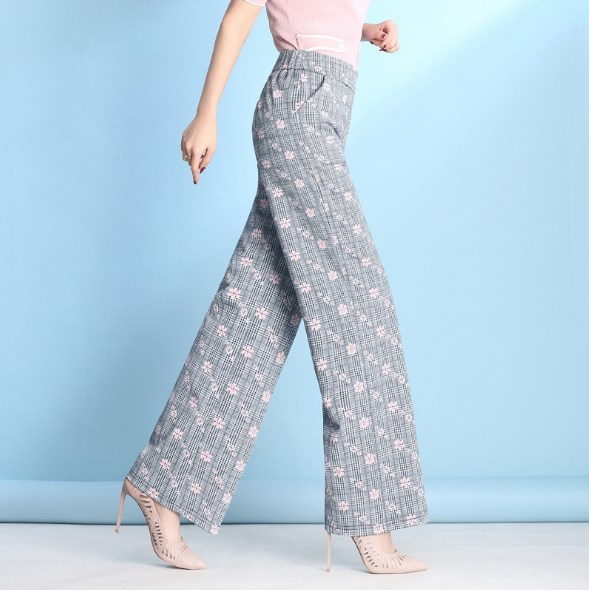 f9588a3b72dfd Womens Wide Leg Grey Plaid Pant Women Elegant Floral Bell Bottoms Elastic  Waist Palazzo Dress Pants Loose Pantalon Calca 7XL 9XL