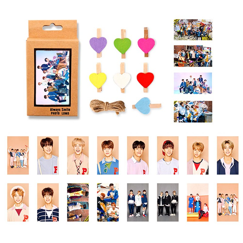 20Pcs/Set Kawaii STRAY KIDS Lomo Cards Paper Photo Cards  With 10Pcs Clips For Fans Gift Collection