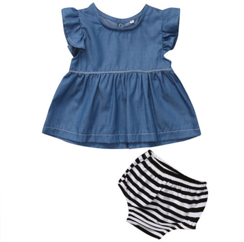 2017 Fashion Baby Clothing Fit 0-24M Baby Girl Cowboy Sleeveless O-Neck Blue Denim White Black Striped Baby Clothes Outfit Set 2pcs children outfit clothes kids baby girl off shoulder cotton ruffled sleeve tops striped t shirt blue denim jeans sunsuit set