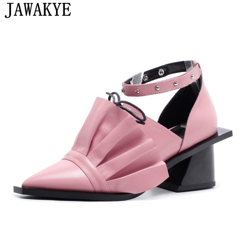Summer genuine leather dress Sandals women square high Heels ruffles flowers bowties rivets pumps party shoes