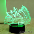 7 Lámpara de Color Sydney Opera House 3D Visual de La Noche del Led luces para Niños Mesa Táctil USB Lampara Lampe de Dormir Del Bebé Nightlight