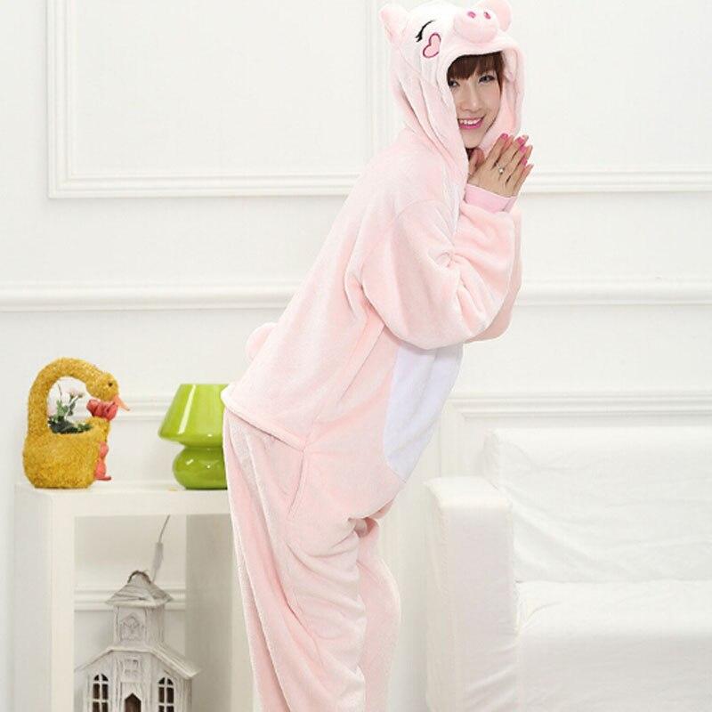 Image 3 - ANIMALCARTOON 2019 Pink pig Flannel Autumn and winter Cosplay Cartoon animals Pajamas for women adult Hooded Pajama sets Onesies-in Pajama Sets from Underwear & Sleepwears