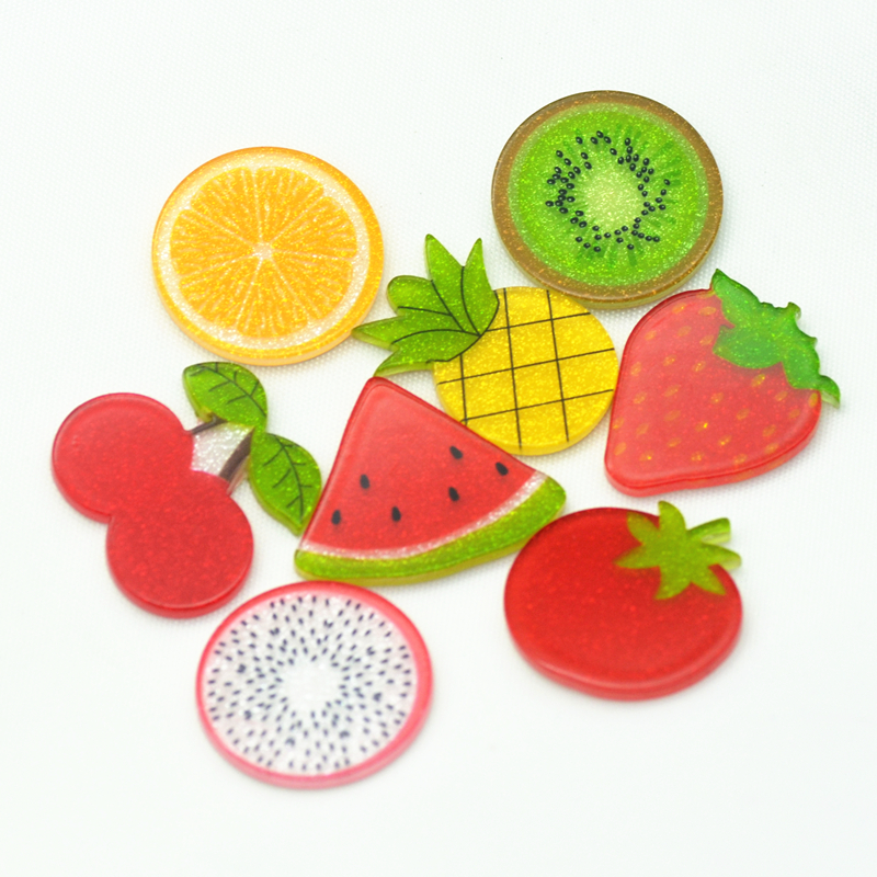 Assorted Fruits Slices Packs ,Resin Fruits Miniatures,Acrylic Fruit Planars Mixed Style LNCA81706220014