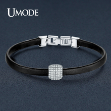 UMODE New Charm Leather Bracelets for Women White Gold Color CZ Bead