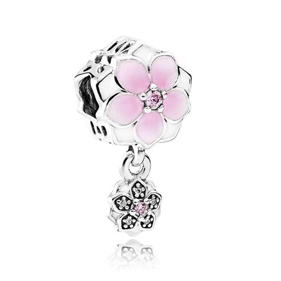Jewelry & Accessories Spinner Magnolia Bloom Dangling Charm Beads Fit Pandora Charm Bracelets&bangles For Women Jewelry Diy Wholesale