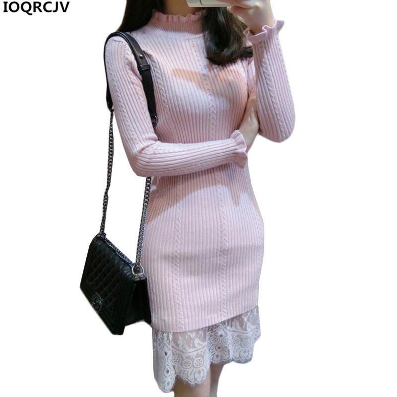 Women Dress 2018 New Fashion Lace Stitching Pullovers Knit Dress Slim Warm Winter Sweater Dress Women Clothing IOQRCJV AA2