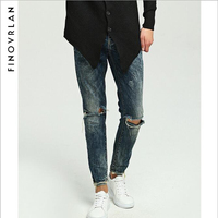 Famous Brand Designer Slim Fit Ripped Jeans Men Hi Street Mens Distressed Denim Joggers Knee Holes