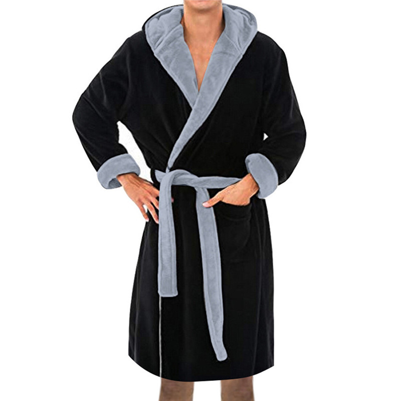 Bathrobe Shawl Home-Clothes Long-Sleeved Men's Winter Fashion Plush Coat Polyester Solid title=