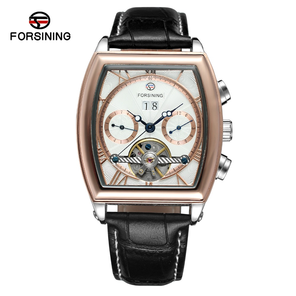 Date Hour Automatic Watches Men's Luxury Brand Tonneau Dial Classic Male Business Wristwatch Genuine Leather Band Quartz Square mike davis knight s microsoft business intelligence 24 hour trainer