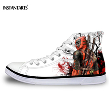 INSTANTSARTS Men's Lace-up Vulcanized Shoes Cool Super Hero Deadpool Printed Casual High high Canvas Shoes Fashion Men Sneakers