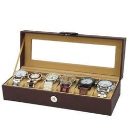 Najwyższej jakości 6 siatki zegarek schowek pole zegarek wyświetlacz organizator etui ze skóry luksusowe szklane pole zegarek dla uchwyt mężczyźni walentynki prezent|Pudełka do zegarków|Zegarki -