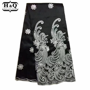Hottest African George Lace Fabric,Super Quality Black George Silks Lace Black Embroidered And Lot of Sequins For Sewing Dress