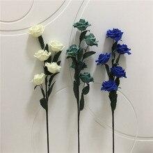 1 шт./упак. 65 см Искусственный EVA пены Роза цветы один длинный стебель Букет Красивая Цветочная вечерние Свадебные украшения
