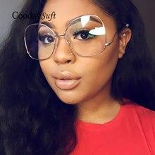 Coodaysuft Mujeres gafas de Sol Del Metal de la Señora Diseñador de la Marca de gafas de Sol UV400 Marco Óptica Gafas Gafas con lente Transparente