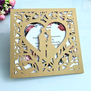 Image 5 - 50pcs Blue White Gold Red Hollow Heart Laser Cut Marriage Wedding Invitations Card Greeting Card Print Postcard Party Supplies