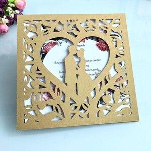 Image 5 - Cartão de visita de casamento 50 peças, azul branco vermelho oco coração corte a laser convites de casamento impressão cartão postal suprimentos da festa