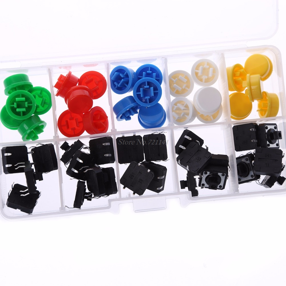 25 Pcs 12x12x7.3mm Momentary Tactile Push Button Touch Micro Switch 4P PCB With Cap