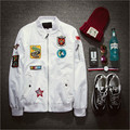 Fashion Mens Bomber Jacket Air Force Pilot Jacket Mens White Embroidery Jacket Z1340