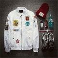 Moda Para Hombre de la Chaqueta de Bombardero Chaqueta de Piloto de la Fuerza Aérea Para Hombre Blanco Bordado Z1340
