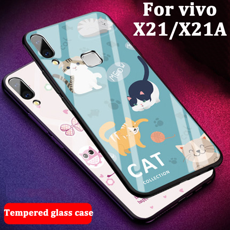 For VIVO X21 X21A case 9H Tempered Glass back Cover For VIVO X21 cases phone Cover anti-Explode For VIVO X 21 X21 A case shell